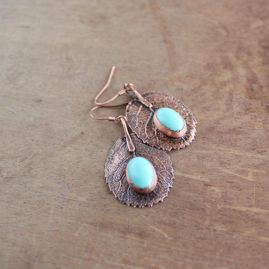 Mint blue earrings by WhiteSquaw