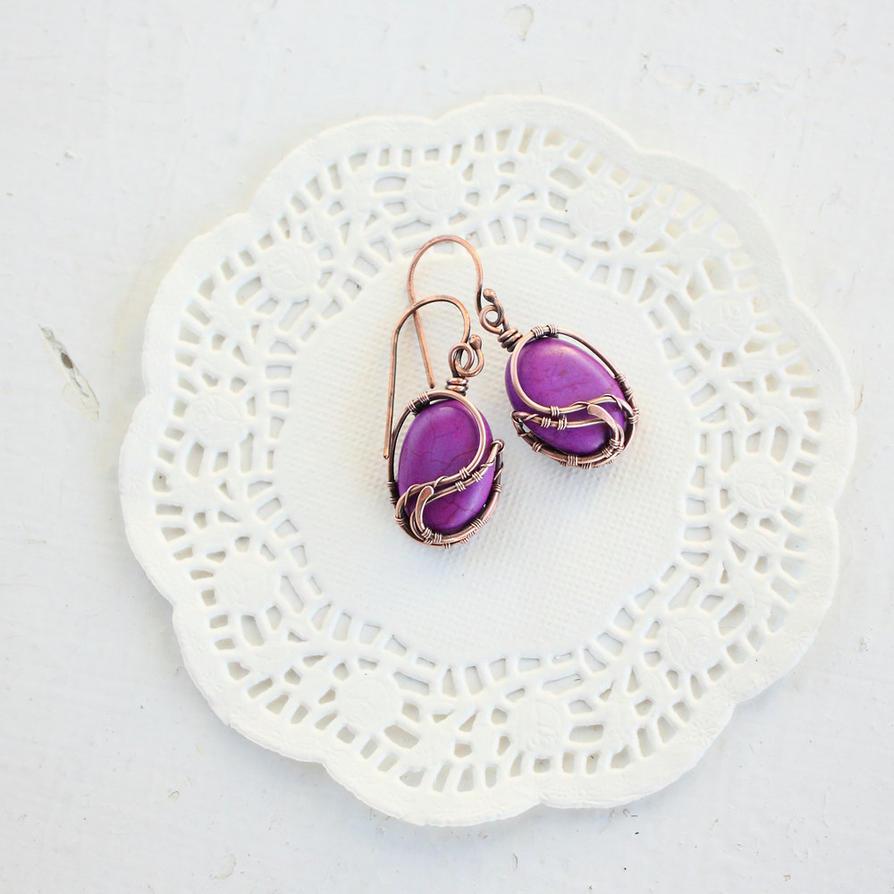 Purple earrings by WhiteSquaw