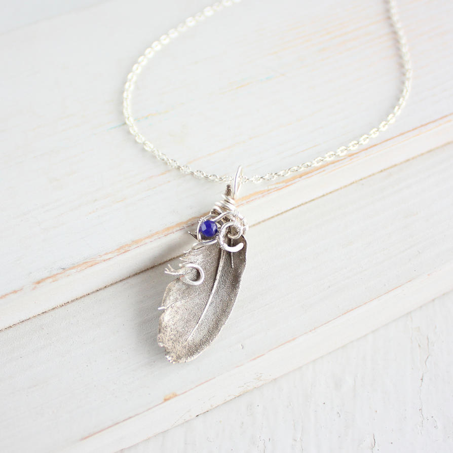 Blue Bird Feather Necklace by WhiteSquaw
