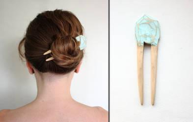 Hello Spring Wooden Hair Fork
