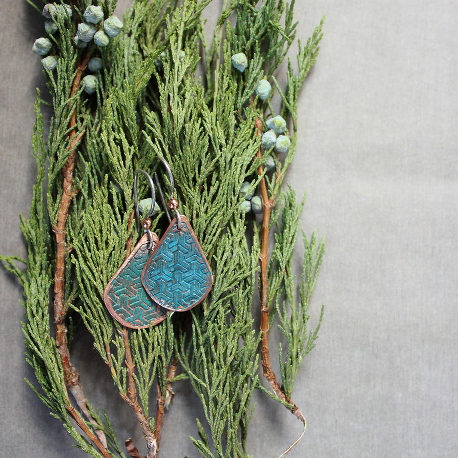 verdigris blue earrings by WhiteSquaw