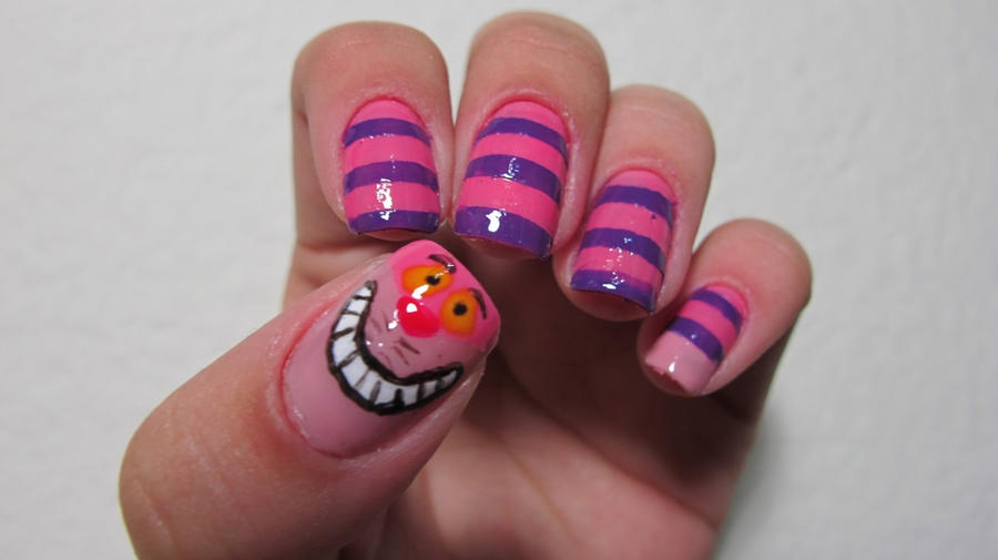 Cheshire Cat Nails by tharesek
