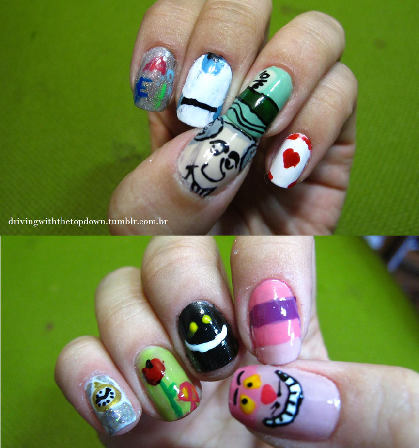 Alice in Wonderland nails by tharesek on DeviantArt