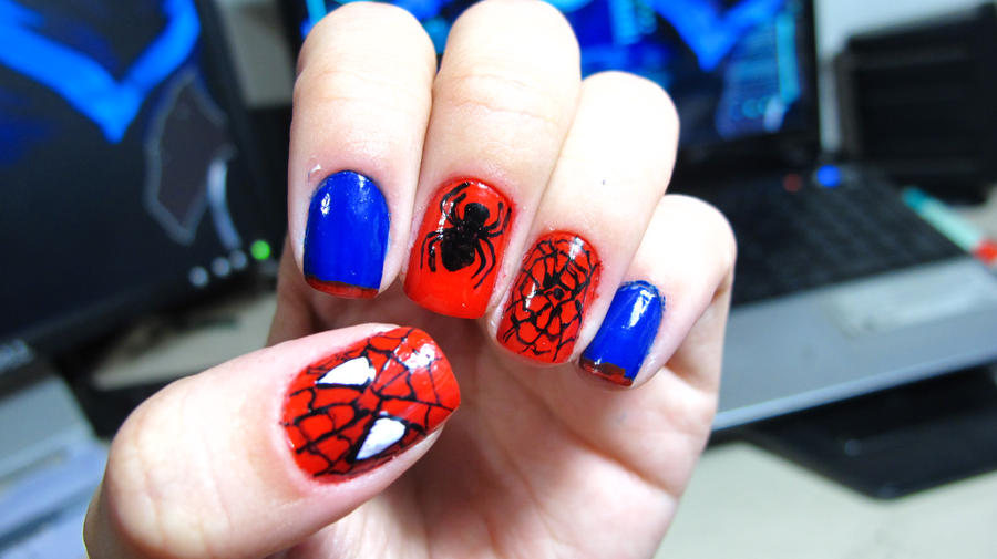 Man u nail art beautify themselves with sweet nails spider man nails by tharesek on deviantart prinsesfo Choice Image