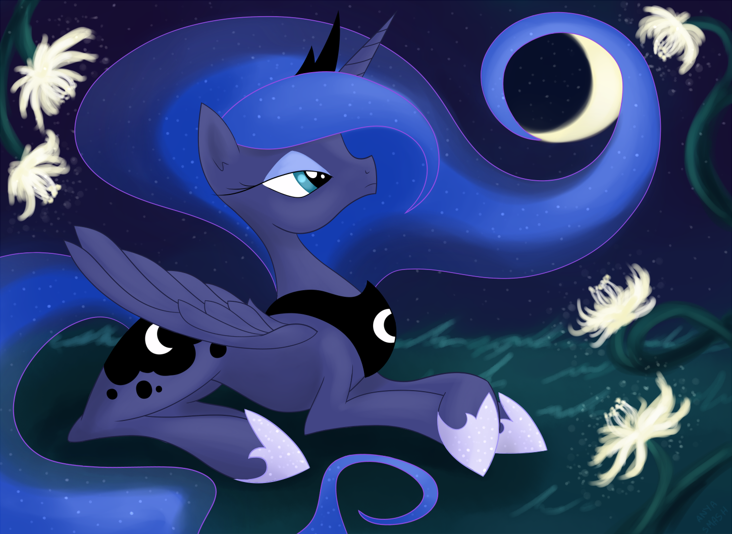 Luna and Night Blooming Cereus by Faikie
