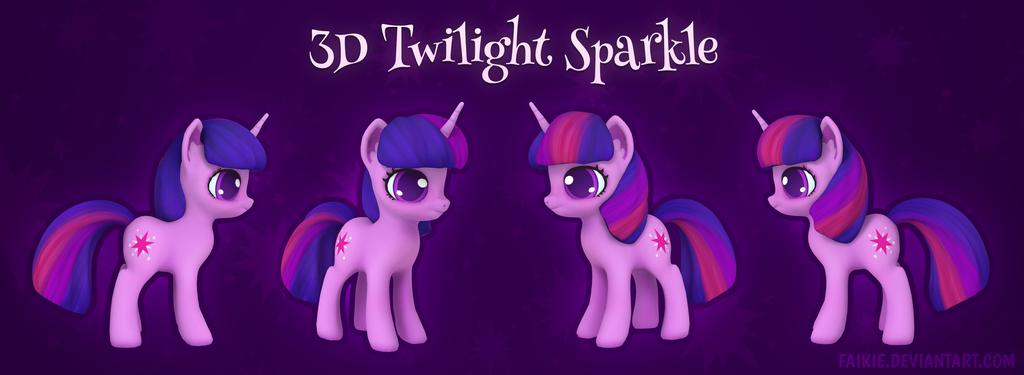 3D Twilight Sparkle by Faikie