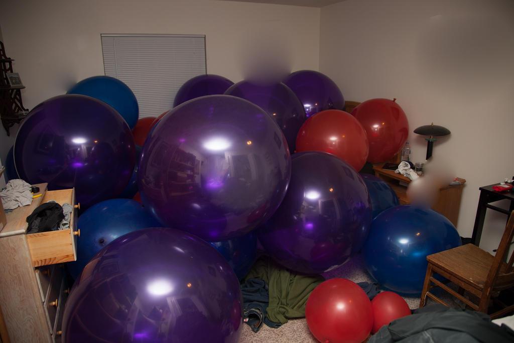 Inside a latex balloon