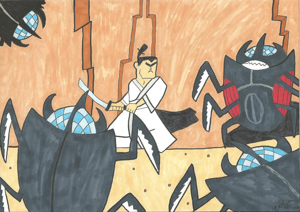 Samurai Jack fight  Beetle Drones by Katla-cat