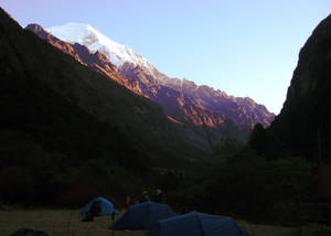 Mountain Looms Over Camp