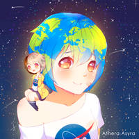 FA | Earth-chan and Moon-chan by AtheraAsyra