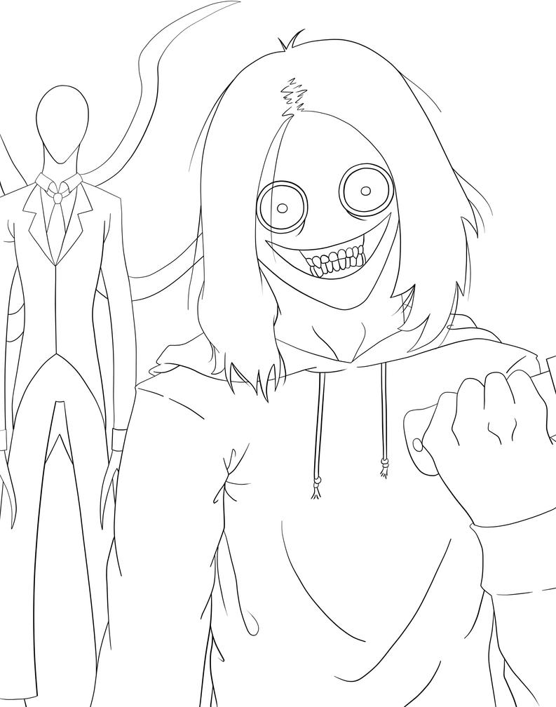 Jeff the killer and slender man by tsosie on deviantart for Slender man coloring pages