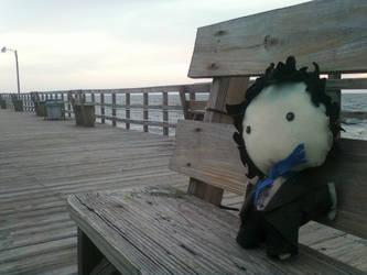 Sherlock Plushie on the Dock by LadyChristineJones