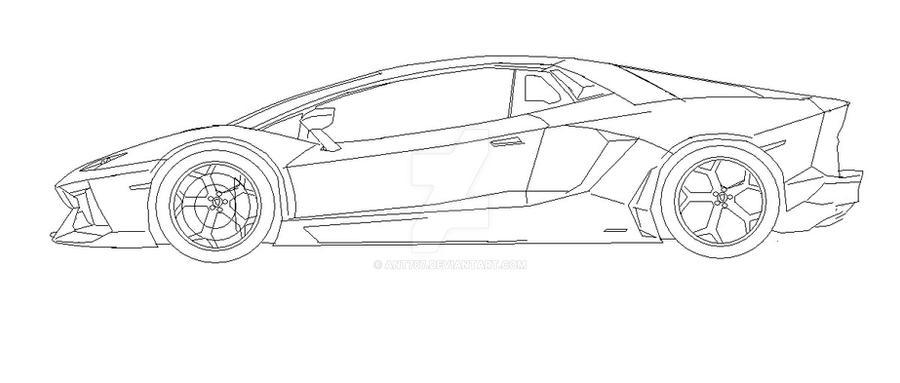 How to draw a car Lamborghini Huracan Side View step by ...  Lamborghini Aventador Drawing Side View