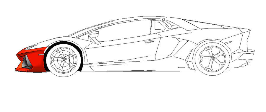 Lamborghini Aventador Side View MS Paint Colored 1 By Ant787