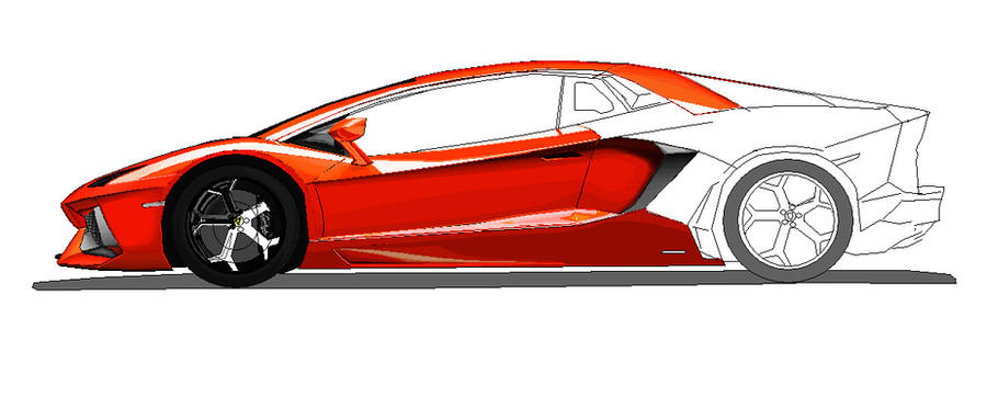 How To Draw A Car For Kids: Lamborghini Gallardo Side View ...  Lamborghini Aventador Drawing Side View