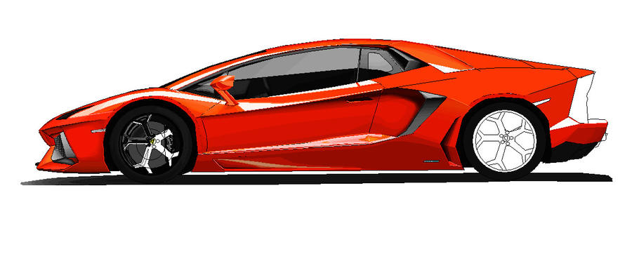 Lamborghini Aventador Side View Ms Paint Colored  By Ant