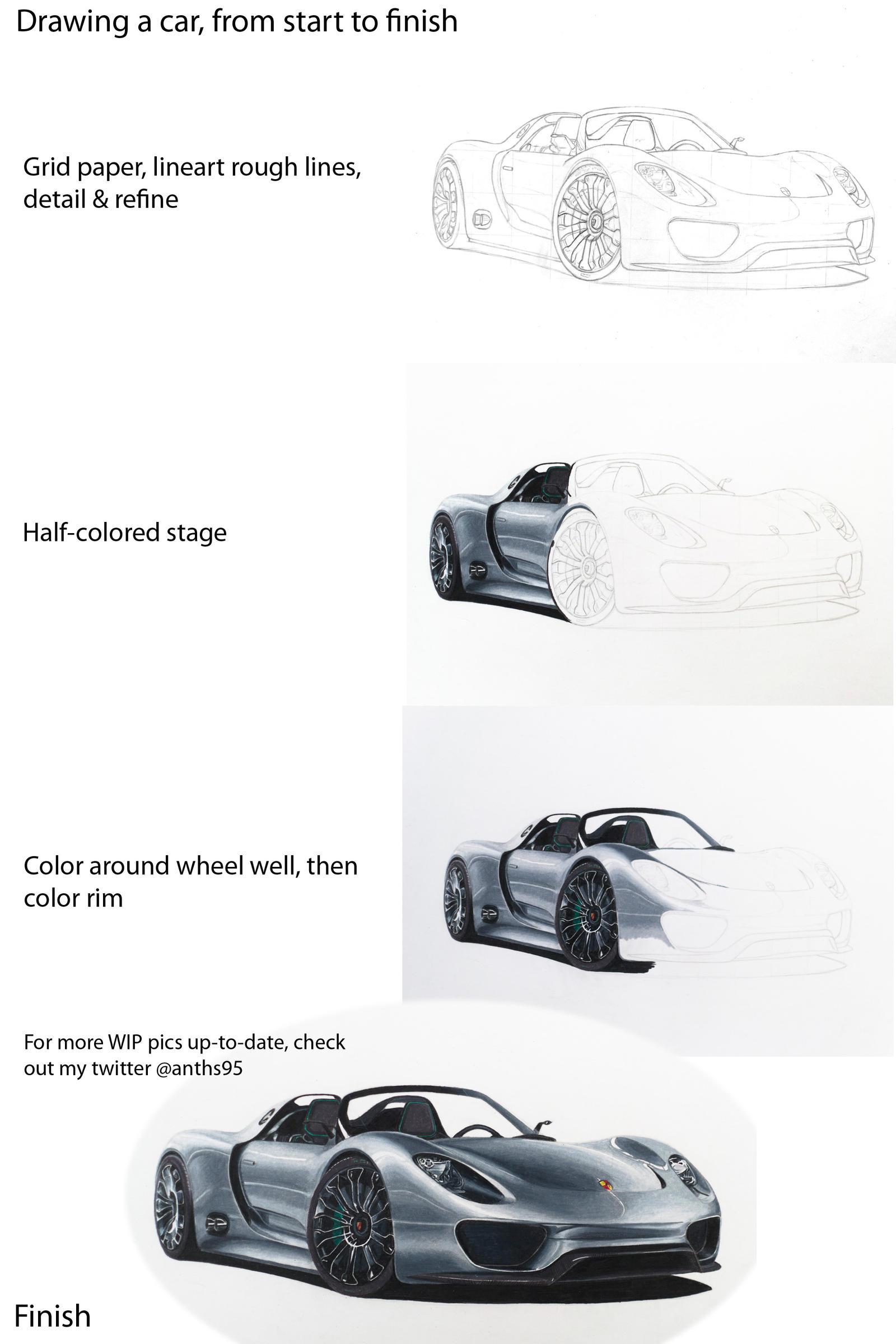 porsche 918 spyder drawing stages by anths95 on deviantart. Black Bedroom Furniture Sets. Home Design Ideas