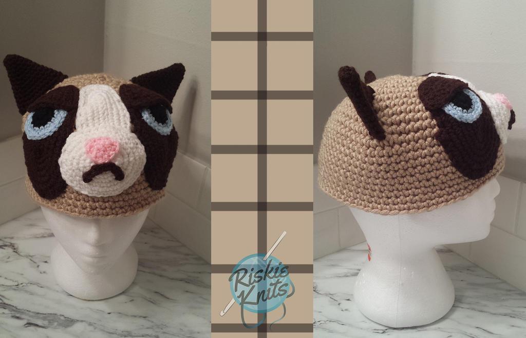 grumpy cat hat by riskieknits on deviantart. Black Bedroom Furniture Sets. Home Design Ideas