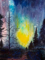 Night sky in gouache by EarlyOctober