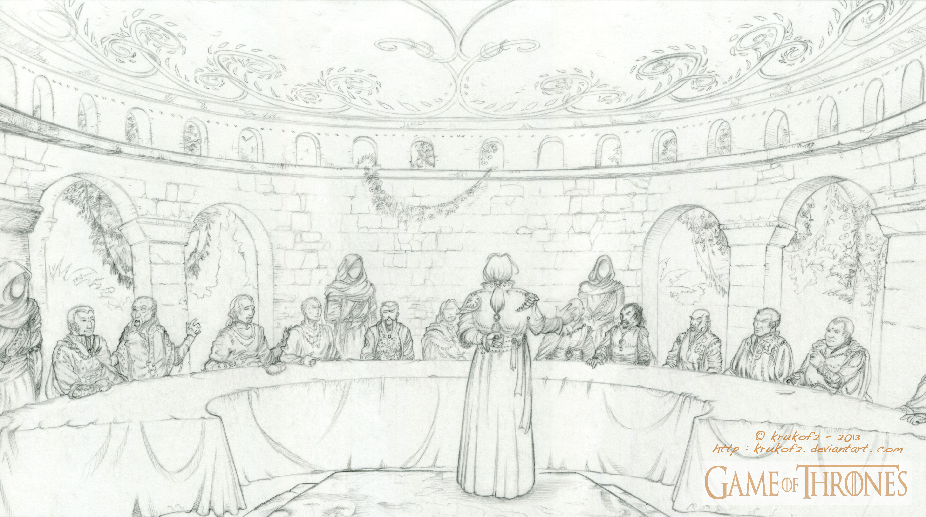 A GAME of THRONES - The Council chamber of Qarth. by krukof2