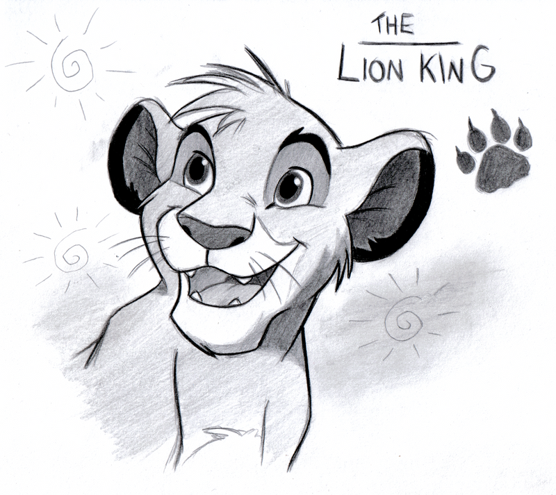 how to draw simba as a cub