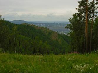 Forest and mountains by MissLumikki