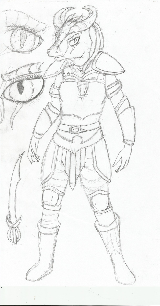 DnD Unnamed Dragonborn Fighter by TheShadowStone