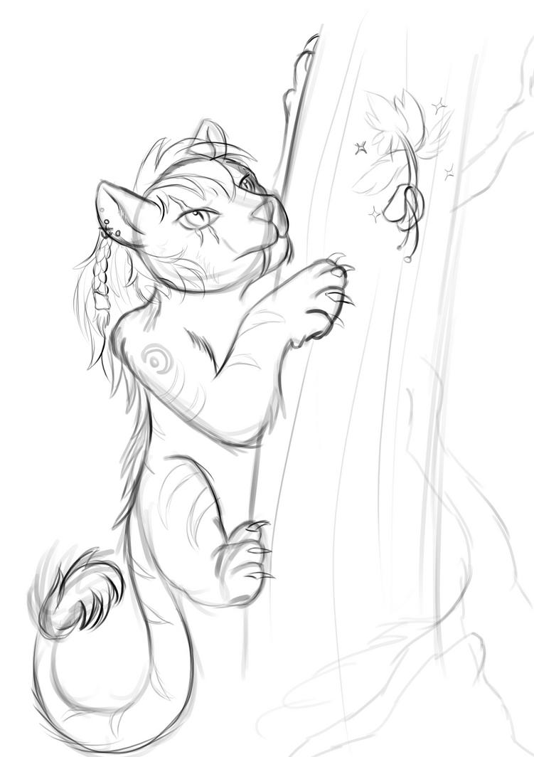 Inktober 1: Climbing Cat by TheShadowStone