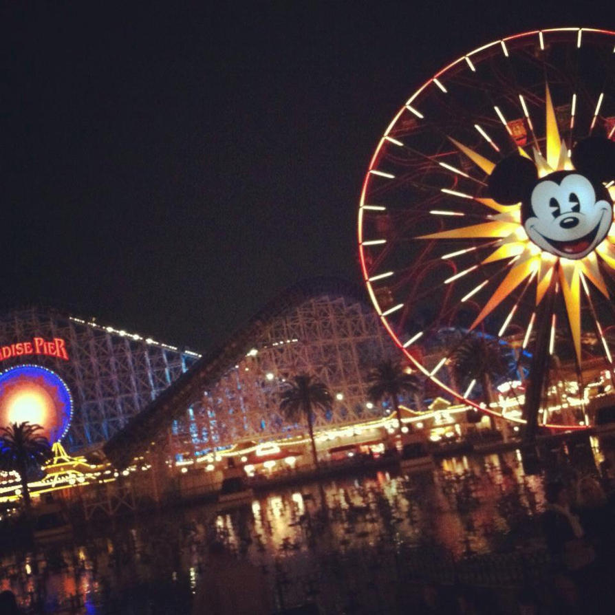 Paradise Pier At Night Disneyland by HavingHope5