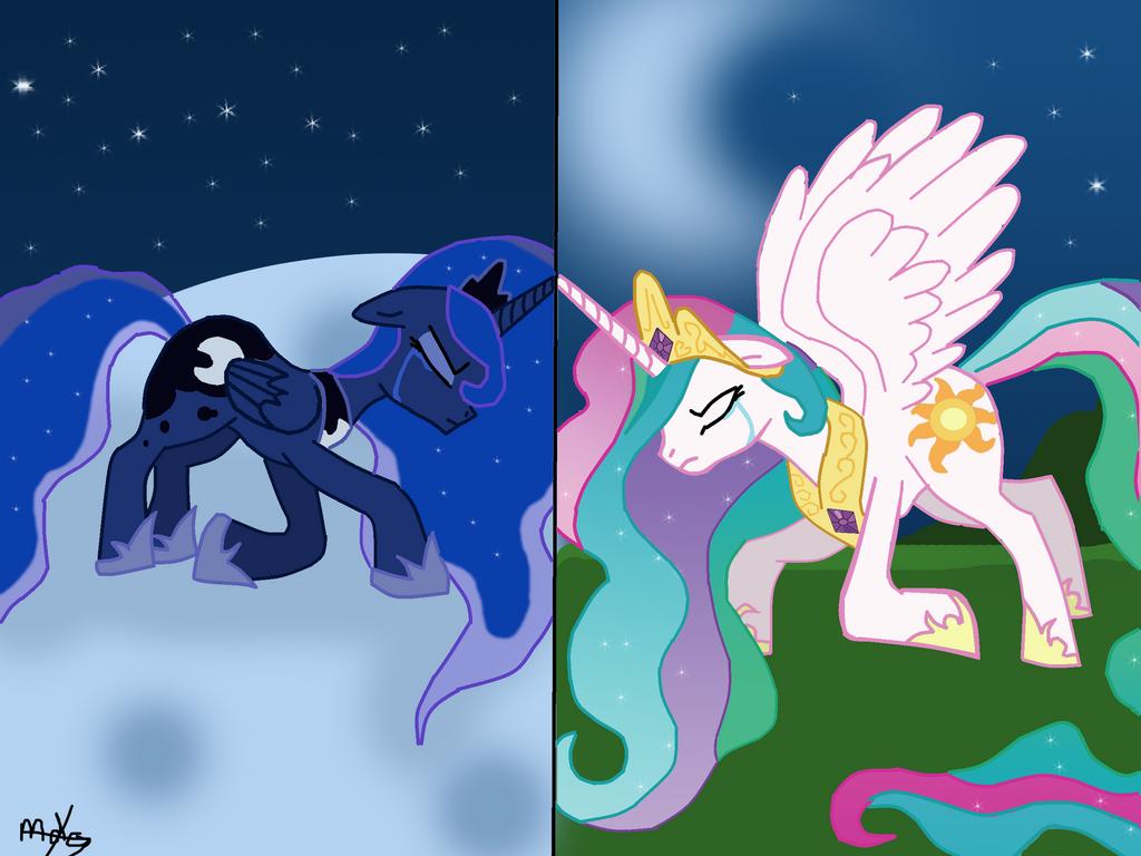 MLP Princess Luna And Princess Celestia By MiesDo On