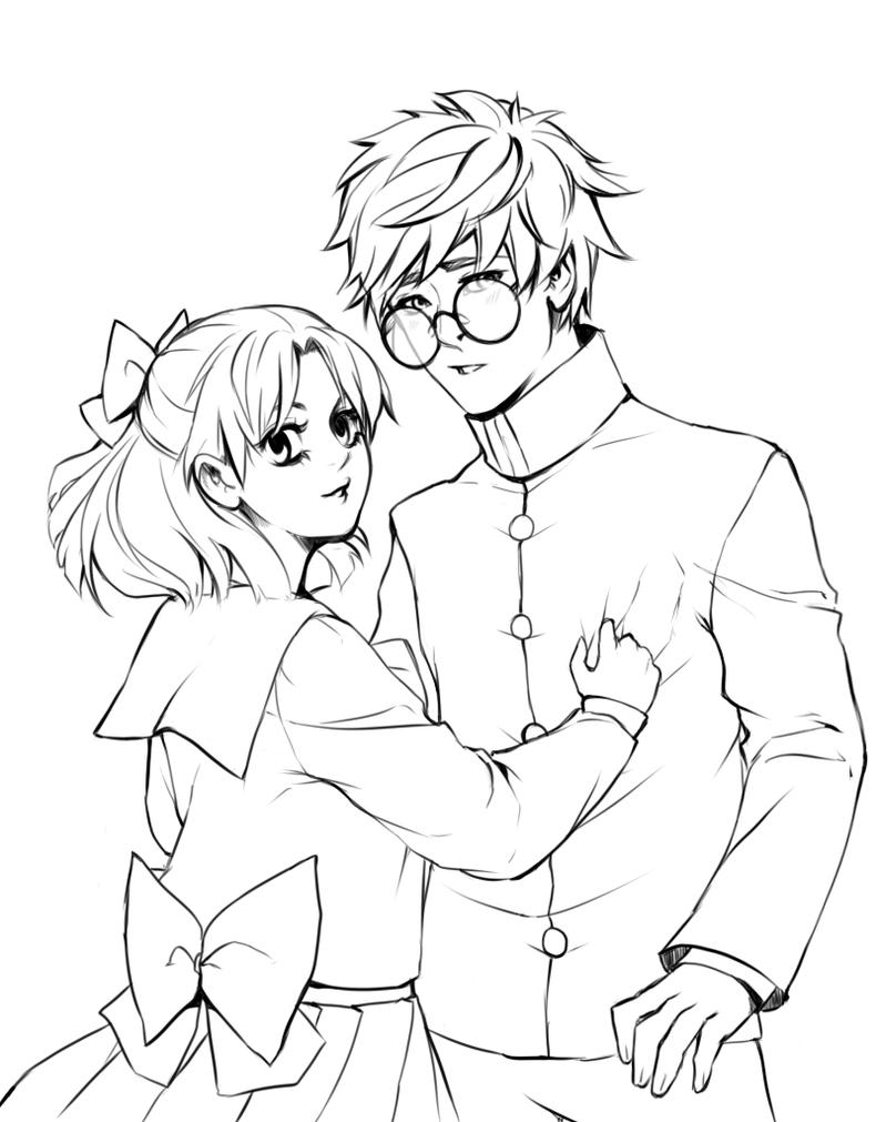 Naru and Umino lineart by HaloBlaBla