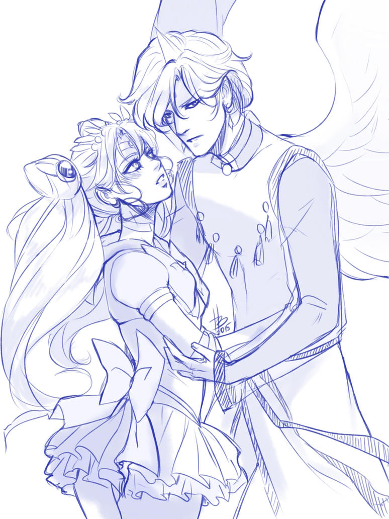 Adult Chibiusa and Helios by HaloBlaBla
