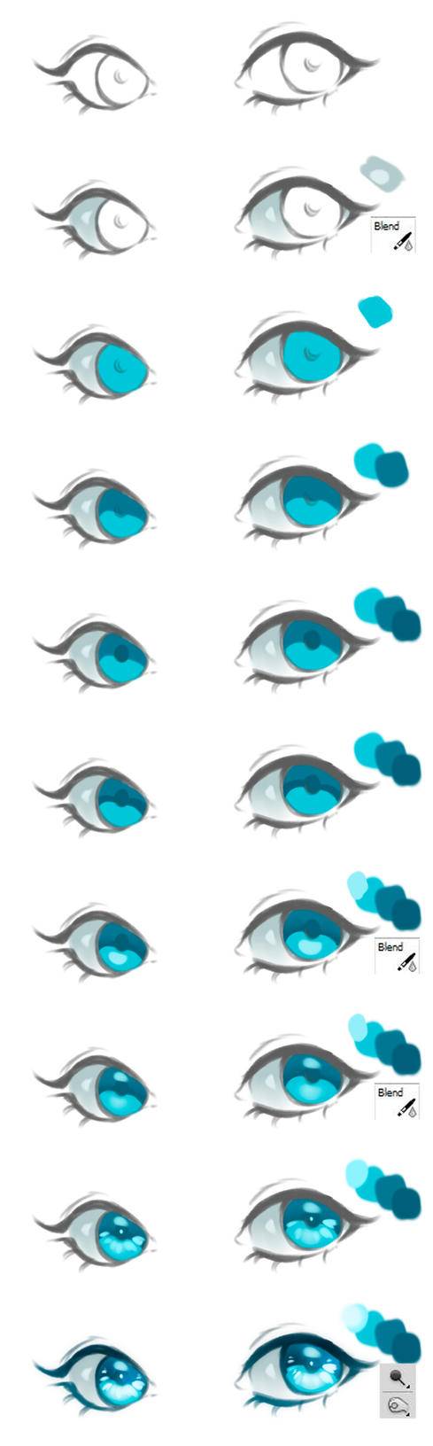 Anime Eyes Coloring Tutorial vol.2 by HaloBlaBla