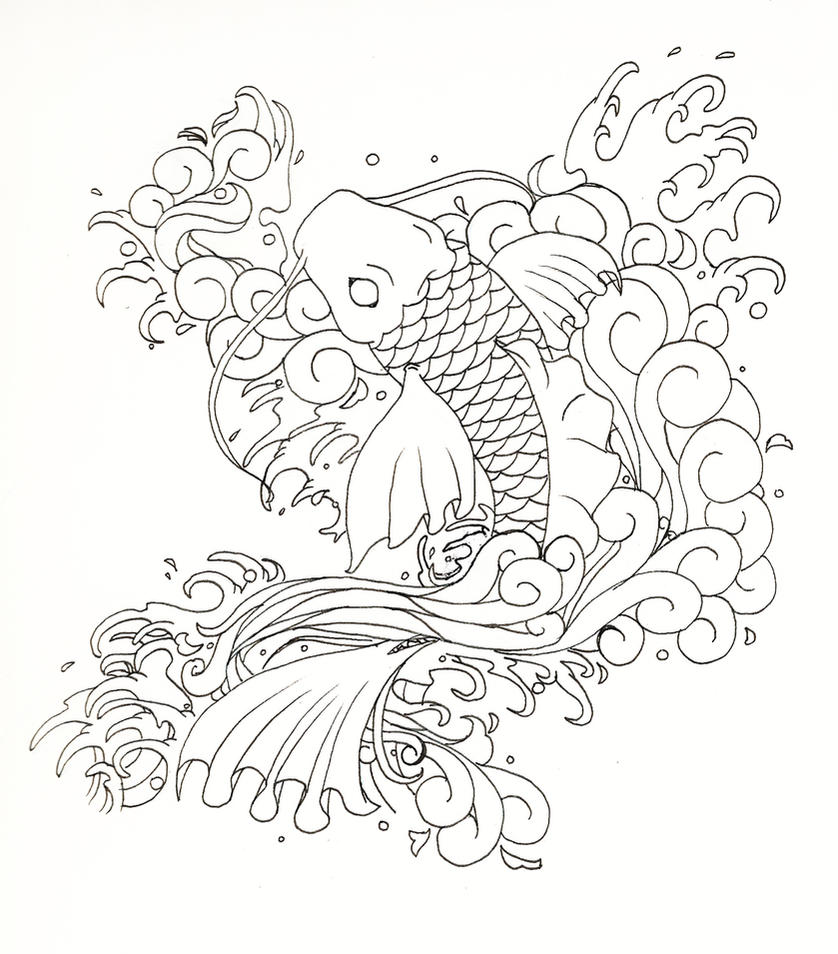 Japanese koi fish by moonlit memories on deviantart for Japanese art coloring pages