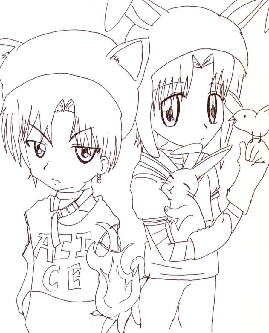 Natsume And Luka Lineart by Anime-sama