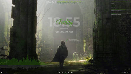 Windows 10 21H1 with Rainmeter and Rocket Dock