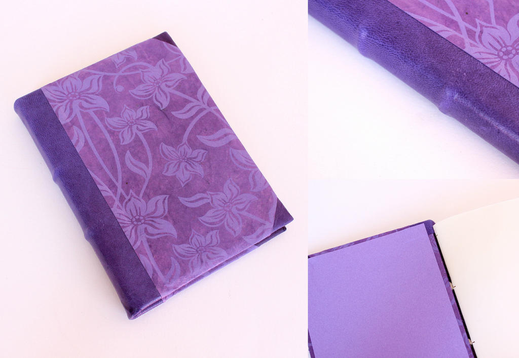 Leather Journal - Purple Flowers by GatzBcn