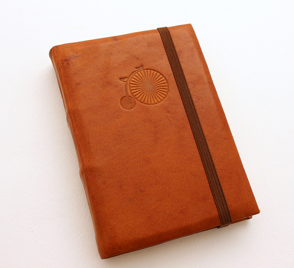 Leather Journal - Brown with Bycicle by GatzBcn
