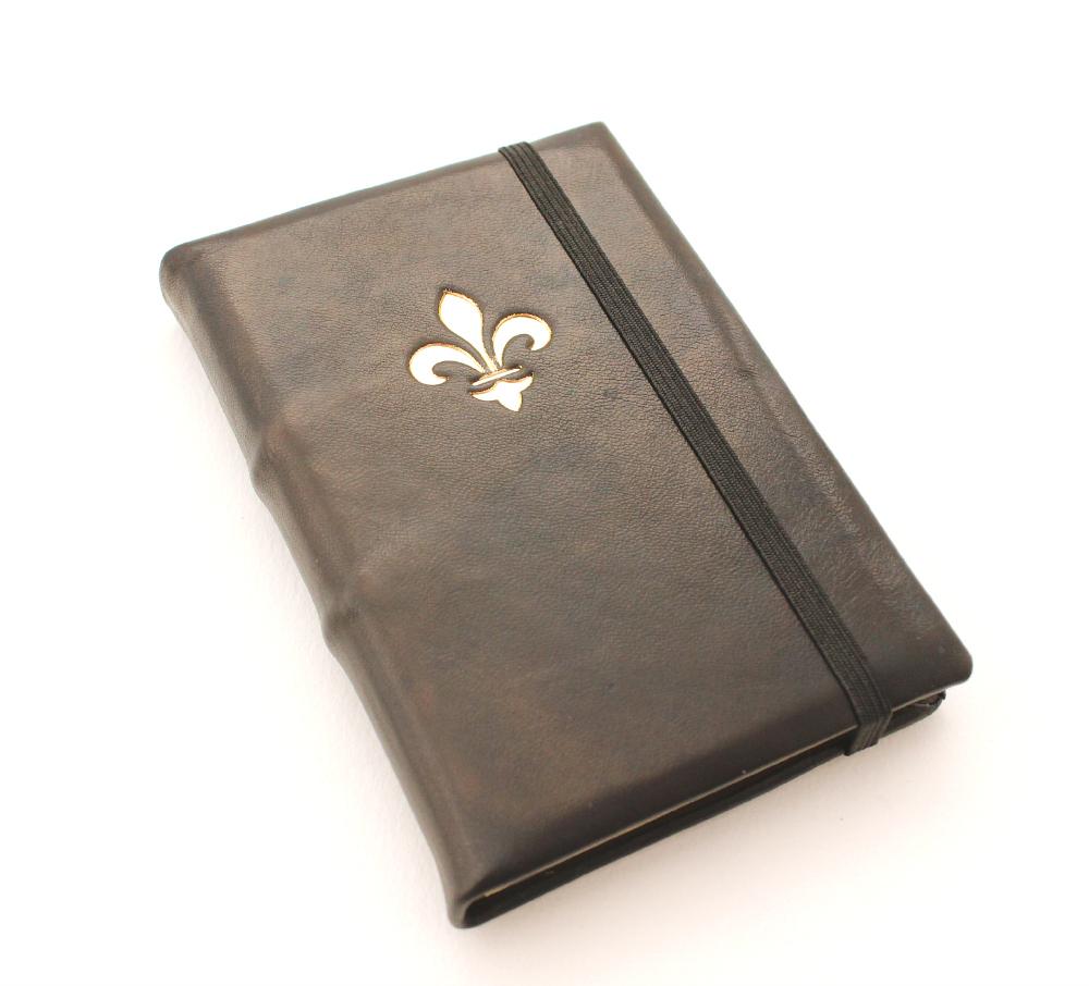 Leather Journal - Black with Fleur de Lys by GatzBcn