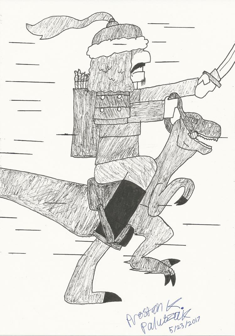 Mongol Riding a Velociraptor by Preston-Kei