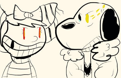 Cringey sketch (Gertrude vs Snoopy) by Kenny1941