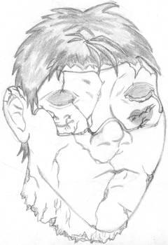 wierd mask on crackd face