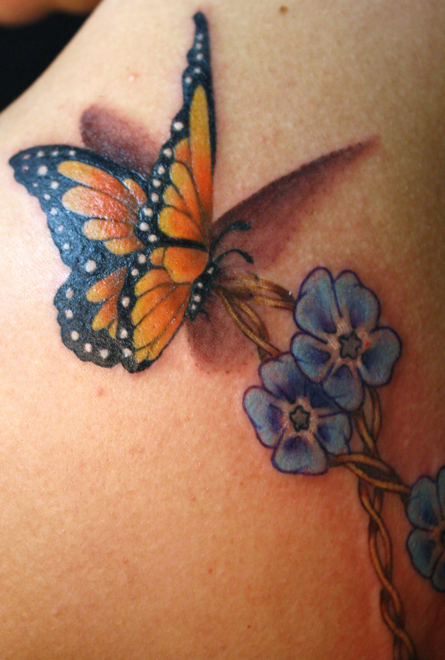 Butterfly forget me not necklace tattoo by aireelle on for Tattoos for me