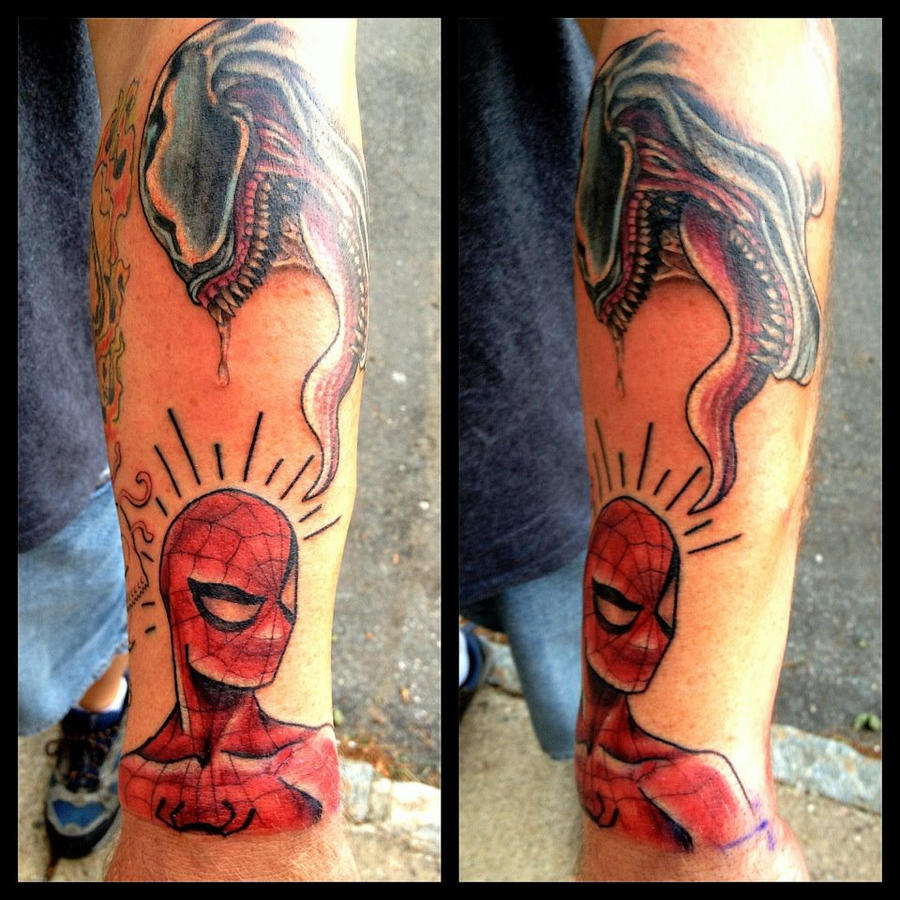 Spiderman tattoo by aireelle on deviantart for Spiderman tattoo arm