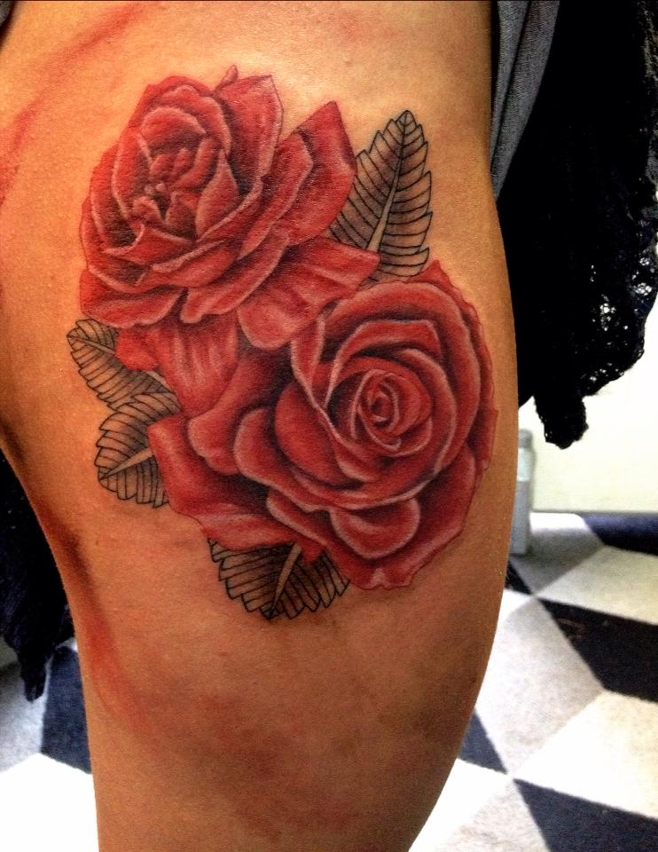 Red Roses on thigh tattoo by AirEelle on DeviantArt