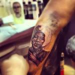 Jimi hendrix portrait tattoo progress photo