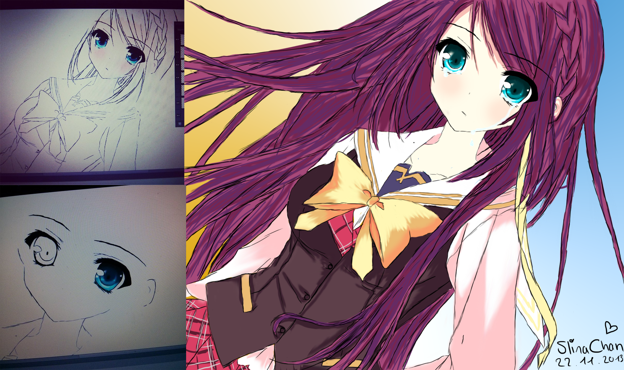 Anime Girl Digital Drawing Purple Hair By Misa-Slina On DeviantART