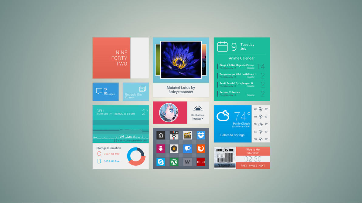 July Flat'ish Desktop by brbk