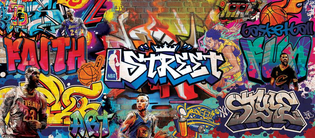 Nba Graffiti Wall Mural By Gossipgirl013 On Deviantart