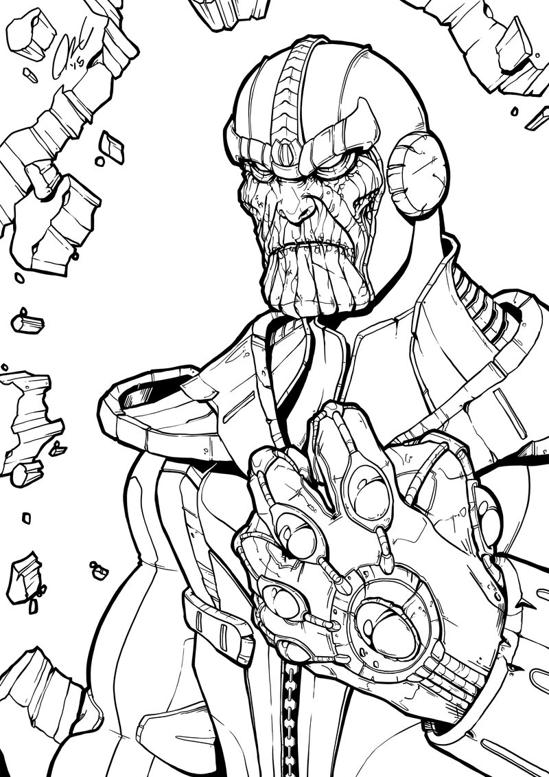 Line Art Marvel : Thanos infinity gauntlet line art by